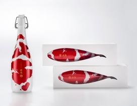 """KOI-日本""""鲤鱼""""清酒包装设计-漂亮的彩色标记纺锤形模仿锦鲤,表达一种生动的图案,代表日本观赏鱼。在日本他们也被称为""""活的宝石"""""""