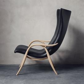 丹麦家具品牌设计的木质皮革弯曲木框架U形腿椅子