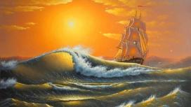 高清晰水墨油画海浪帆船壁纸