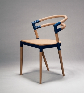 An Assembled Chair-樱桃木椅子设计-重新诠释餐厅传统的北欧椅,避免被困在椅子和桌子之间的感觉,温暖的材料,创造了一个真正舒适的座位。