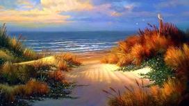 高清晰水彩大海沙滩壁纸