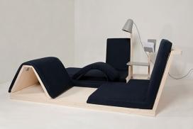panorama-多功能运动区域家具设计-它融入了现代家具,是一种健身模块,一个沙发,一个咖啡桌,一个台灯和一个存储的家庭景观。