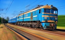 高速行驶的蓝色列车壁纸