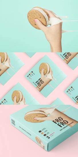 FRO FRO™-新冰淇淋饼干品牌包装设计-一个简单易记的名称品牌构想,创造一个持久的印象,尤其是对孩子。