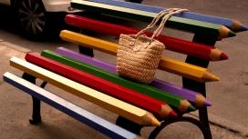 五彩铅笔长凳的包