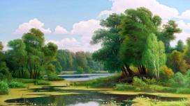 高清晰绿色树河壁纸