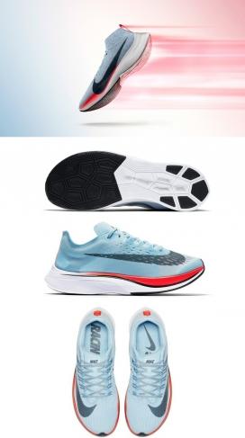 """NIKE空气动力鞋-耐克公司设计的""""速度最快的鞋""""打破两个小时的马拉松式屏障,超轻巧,仅为185克,并具有鲜明的脚后跟指向向上就像一艘船的船头"""