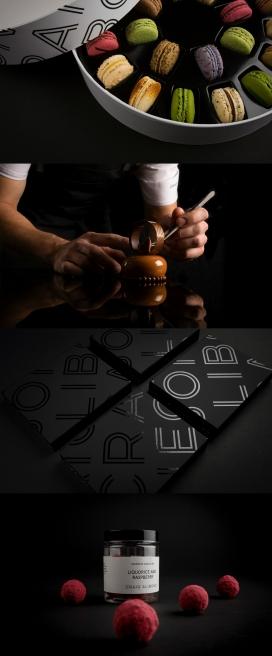 吸引你的眼睛和你的胃-挪威美食手工Craig Alibone马卡龙饼干巧克力包装设计-精致引人注目的包装,每个方面都对细节做了美学处理,标志是基于一个手绘的字体,给予了品牌一个独特的表达和强调工艺,令人难以置信