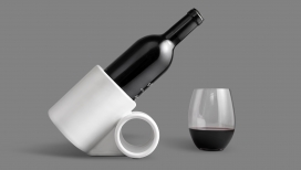 3D打印的倾斜瓷器酒架-保持瓶子在最佳曝气角度,以完美的45度角进行通风-美国布拉德・阿斯卡隆设计师作品