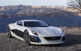 高清晰黑白蓝交错设计的rimac概念车设计