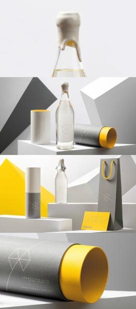 真正独特优雅的伏特加礼物-丝网印在高质量的纸上,符合品牌的调色板,简约几何启发的限量版风格