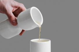 Thorpe为OTHR设计的Tanizaki Sake-3D印刷烧瓶瓷器,都具有统一的空间光影效果