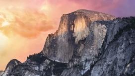 高清晰优诗美地国家公园岩石山峰-IMAC系统默认桌面壁纸