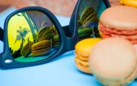 高清晰墨镜与马卡龙饼干壁纸
