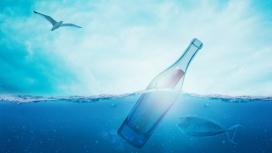 高清晰唯美的蓝色漂流瓶壁纸