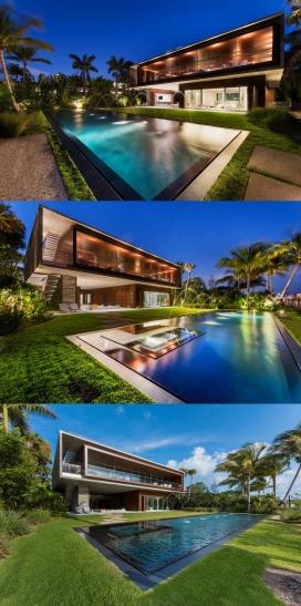 一个豪华带屋顶花园和游泳池的迈阿密海滩度假别墅
