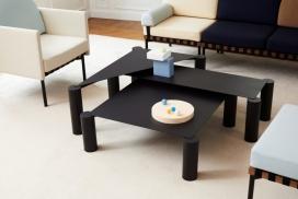 马克斯利用细长的表面来丰富成对的腿,从而形成嵌套的咖啡桌