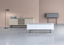 西班牙家具公司momocca推出大胆而简约的存储家具-相结合的木材、金属、石头是其最大特点,有一组餐具柜,控制台,抽屉柜