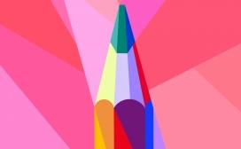 高清晰五彩菱形铅笔壁纸