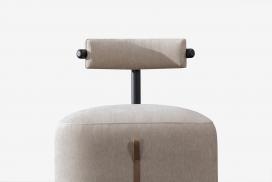 LOOP CHAIR-丝绒钢管皮革组成的循环椅子