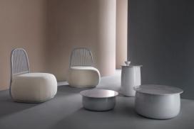 欧洲设计品牌Sé与瑞士设计师Ini Archibong推出的胖乎乎雕塑收藏品家居