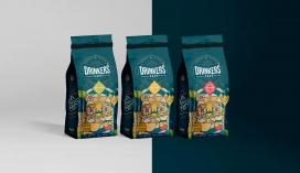 配有醒目线条插图的Drinkers咖啡袋