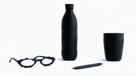像素化家居产品-都是用黑色制成的,并且具有脊状纹理