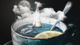 高清晰杯中的海洋世界