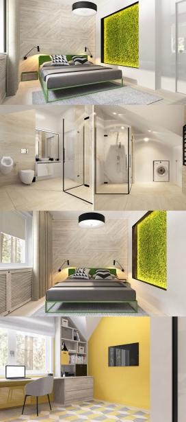 莫斯科-黄绿搭配的室内设计欣赏