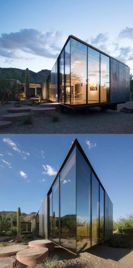 反映亚利桑那州沙漠景观的玻璃房