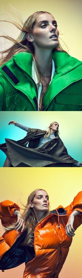 穿着西班牙大胆外套的理查德拉莫斯-金发美女穿着连身衣,斗篷和河豚夹克,拥抱秋季系列的彩色女装秀