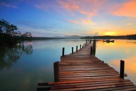 木条板码头观景台