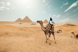 沙漠中的骑驼人
