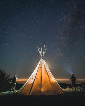 帐篷外2位仰望星空的男人