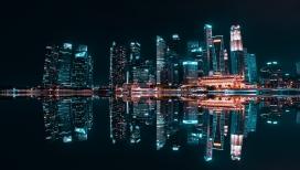 高清晰城市夜景倒影壁纸
