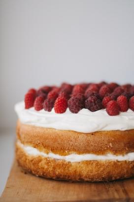 美味的树莓奶油双层蛋糕