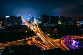 城市高架桥车流光束夜景