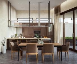 咖啡奶油内饰的复杂风格室内设计