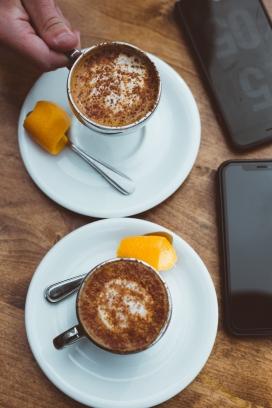 拉花咖啡点心