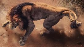身穿瘦弱威猛的雄狮