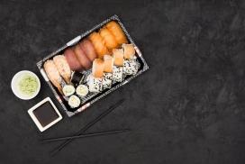 新鲜的芥末三文鱼寿司