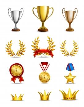 金箔色奖杯奖牌皇冠素材