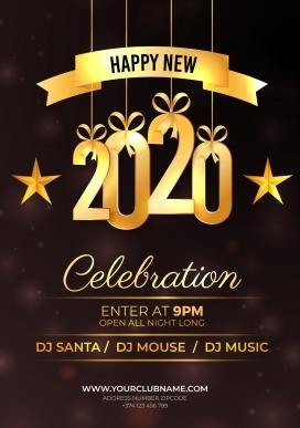 2020新年快乐传单庆祝之夜