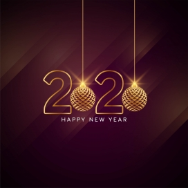 2020新年快乐时尚问候卡