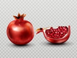 红色发光的石榴果子