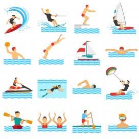 卡通水上运动员素材