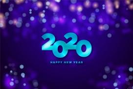 蓝色2020立体贺岁海报