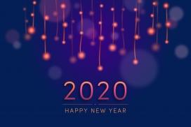 2020荧光模糊烟花贺卡海报
