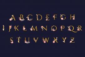 带有优美花朵的金色字母下载