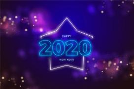 2020蓝紫霓虹灯新年页海报素材